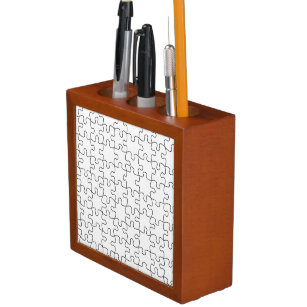Puzzle Pieces  (Add Background Color or Image) Pencil Holder
