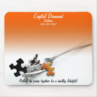 Puzzle Pieces and Fork Over Orange Gradient Mouse Pad