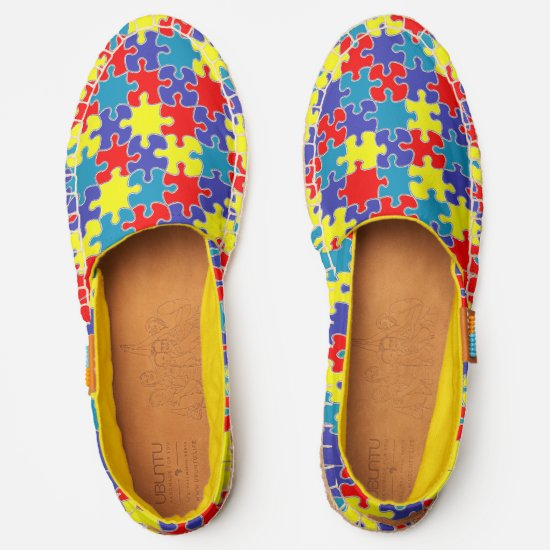 [Puzzle Pieces] Autism Awareness Blue Yellow Red Espadrilles