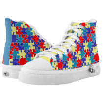 [Puzzle Pieces] Autism Awareness Ribbon High-Top Sneakers