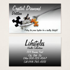 Puzzle Pieces & Fork Business Card at Zazzle