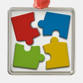 Puzzle Pieces Metal Ornament