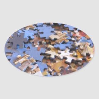 Puzzle Pieces Oval Sticker