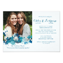 Puzzle Pieces Photo Wedding Invitation