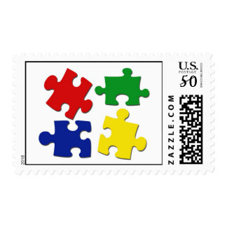 Puzzle Pieces Postage Stamp