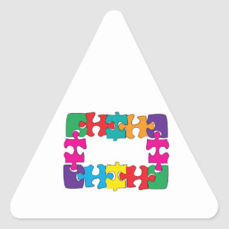 Puzzle Pieces Triangle Sticker
