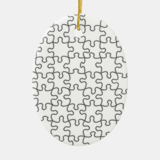Puzzle Pieces Template (Add Background Color) Double-Sided Oval Ceramic Christmas Ornament