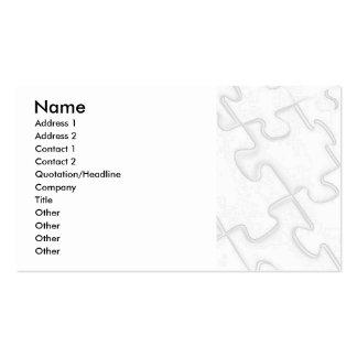 Puzzle Pieces White Art Deco Business Card