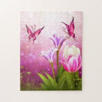 Puzzle Pink Butterfly Flowers puzzle