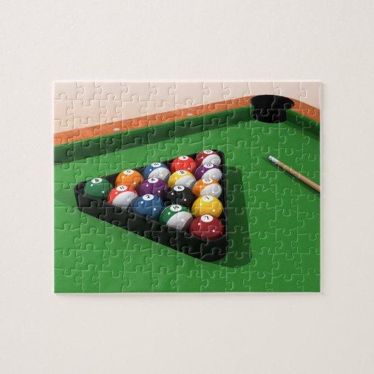 Puzzle: Pool Balls on Green Felt Jigsaw Puzzle