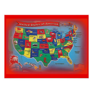 puzzle poster view of the United States of America