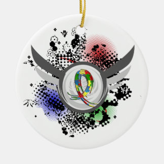 Puzzle Ribbon And Wings Autism Ceramic Ornament