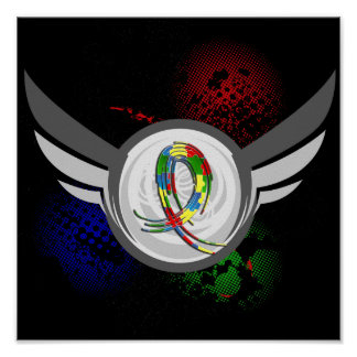 Puzzle Ribbon And Wings Autism Poster