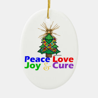 Puzzle Ribbon Christmas Peace Love, Joy & Cure Double-Sided Oval Ceramic Christmas Ornament