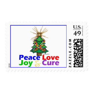 Puzzle Ribbon Christmas Peace Love, Joy & Cure Postage