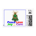 Puzzle Ribbon Christmas Peace Love, Joy & Cure Postage Stamp