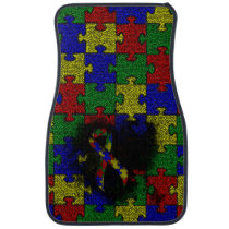 Puzzle Ribbon Grunge Heart Car Mat
