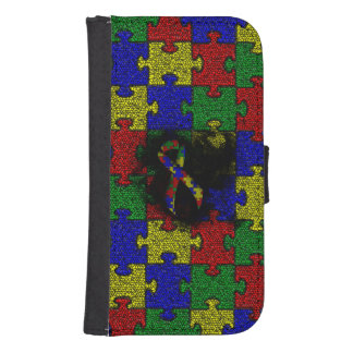 Puzzle Ribbon Grunge Heart Galaxy S4 Wallet Case