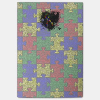 Puzzle Ribbon Grunge Heart Post-it® Notes