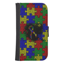 Puzzle Ribbon Grunge Heart Phone Wallet