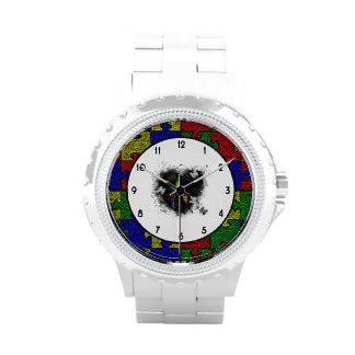 Puzzle Ribbon Grunge Heart Wrist Watches