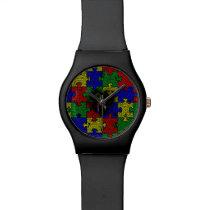 Puzzle Ribbon Grunge Heart Wrist Watch