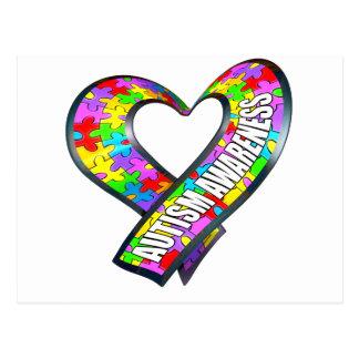 Puzzle Ribbon Heart Postcard