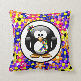 Puzzle Ribbon Penguin Throw Pillow