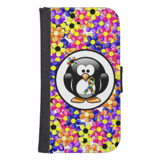 Puzzle Ribbon Penguin Wallet Phone Case For Samsung Galaxy S4