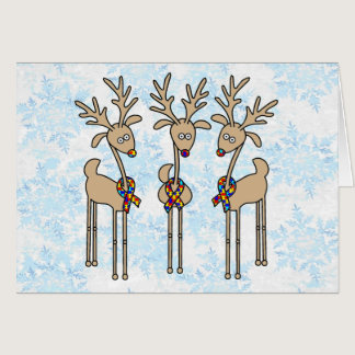 Puzzle Ribbon Reindeer - Autism Awareness Card