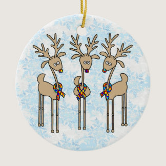 Puzzle Ribbon Reindeer - Autism Awareness Ceramic Ornament