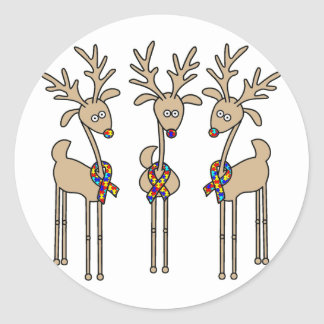 Puzzle Ribbon Reindeer - Autism Awareness Classic Round Sticker