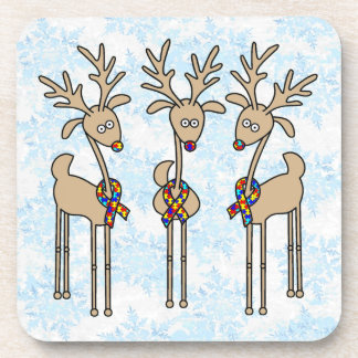 Puzzle Ribbon Reindeer - Autism Awareness Drink Coaster