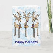 Puzzle Ribbon Reindeer - Autism Awareness Holiday Card