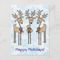 Puzzle Ribbon Reindeer - Autism Awareness Holiday Postcard