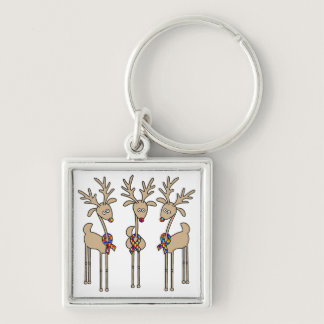 Puzzle Ribbon Reindeer - Autism Awareness Keychain