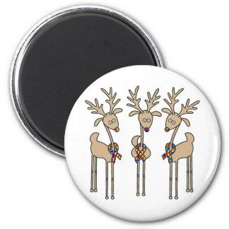 Puzzle Ribbon Reindeer - Autism Awareness Magnet