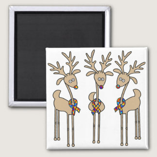 Puzzle Ribbon Reindeer - Autism Awareness Magnet