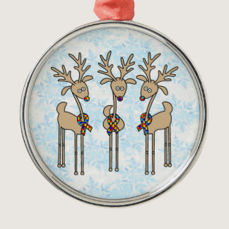 Puzzle Ribbon Reindeer - Autism Awareness Metal Ornament
