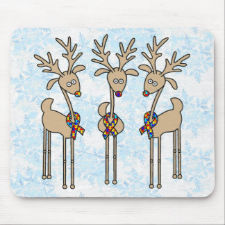 Puzzle Ribbon Reindeer - Autism Awareness Mouse Pad