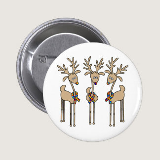 Puzzle Ribbon Reindeer - Autism Awareness Pinback Button