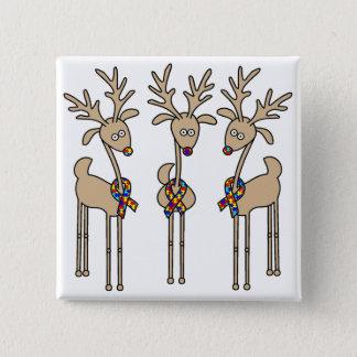 Puzzle Ribbon Reindeer - Autism Awareness Pinback Button