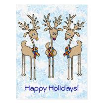 Puzzle Ribbon Reindeer - Autism Awareness Postcard