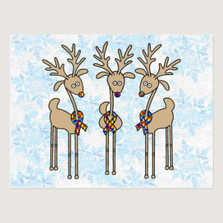 Puzzle Ribbon Reindeer - Autism Awareness Postcard