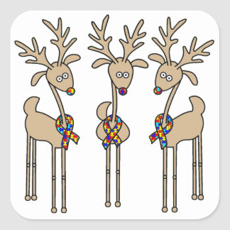 Puzzle Ribbon Reindeer - Autism Awareness Square Sticker