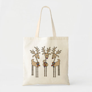 Puzzle Ribbon Reindeer - Autism Awareness Tote Bag