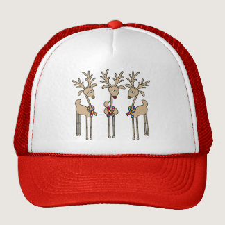 Puzzle Ribbon Reindeer - Autism Awareness Trucker Hat