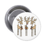 Puzzle Ribbon Reindeer - Autism 2 Inch Round Button
