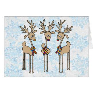 Puzzle Ribbon Reindeer - Autism Greeting Card