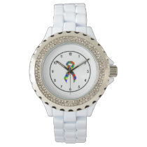 Puzzle Ribbon Support Awareness Wristwatch